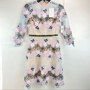 foxiedox Anthropologie Floral Appliqué Mesh Dress